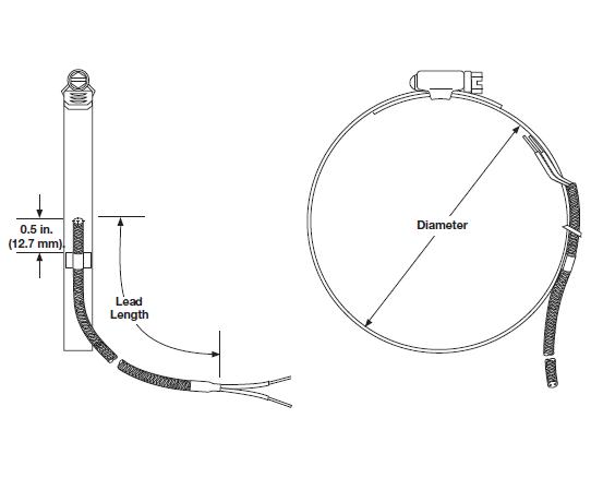 Termocoppia tipo tipo K  fascetta regolabile 0872XKUGE204D